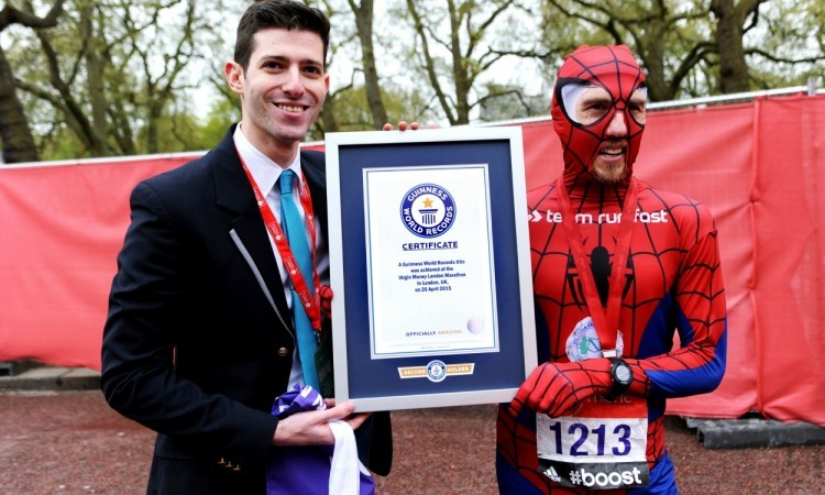 Paul Martelletti breaks superhero record dressed as Spider-Man