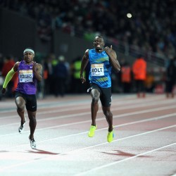 Usain Bolt and Mo Farah light up London's Olympic Stadium