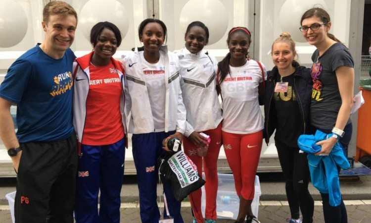 Brooks super fans with GB 4x100 team