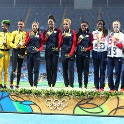 USA dominates to win both 4x400m titles as GB's women bag bronze in Rio