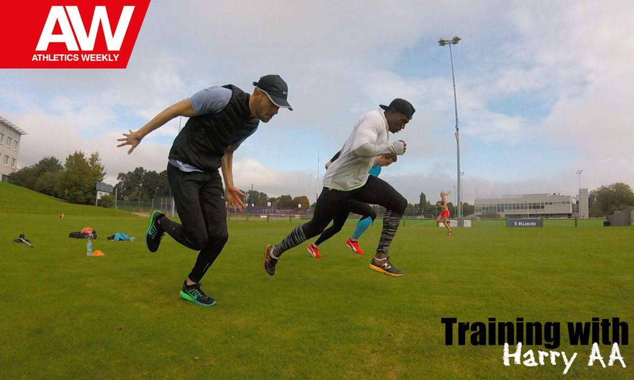 Training with Harry Aikines-Aryeetey... Grass runs