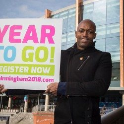 Marlon Devonish helps to mark countdown to Birmingham 2018