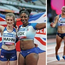 Sophie Hahn and Georgie Hermitage run records to win world gold