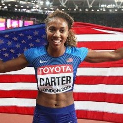 Kori Carter leads US one-two in world 400m hurdles