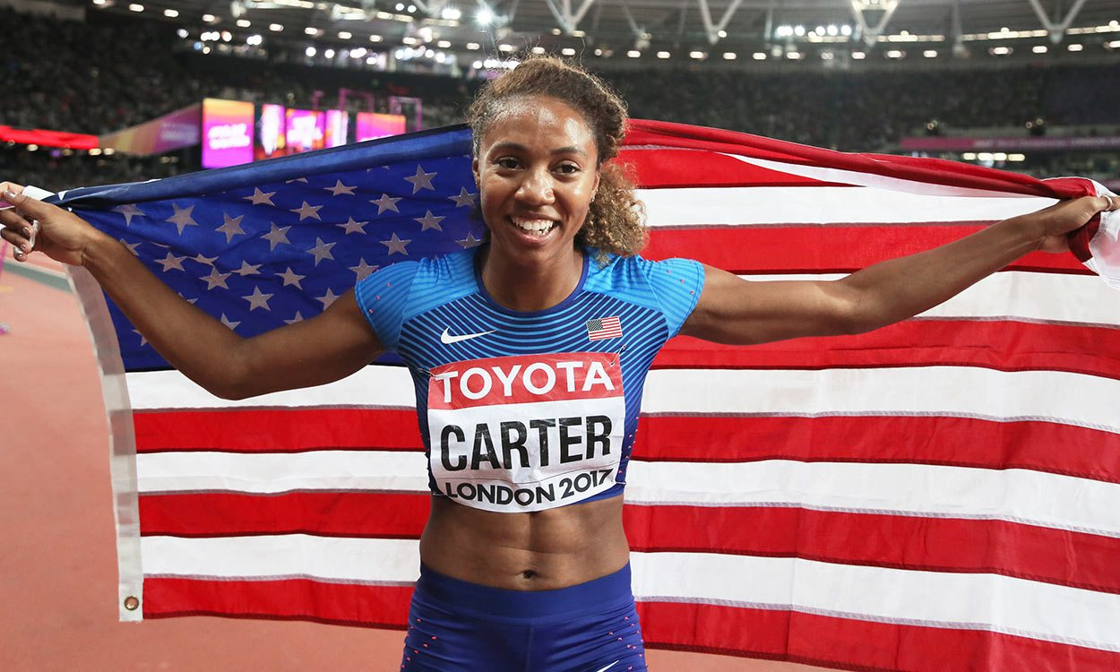 new product 37d33 99143 ... Kori Carter leads US one-two in world 400m hurdles ... retro ...