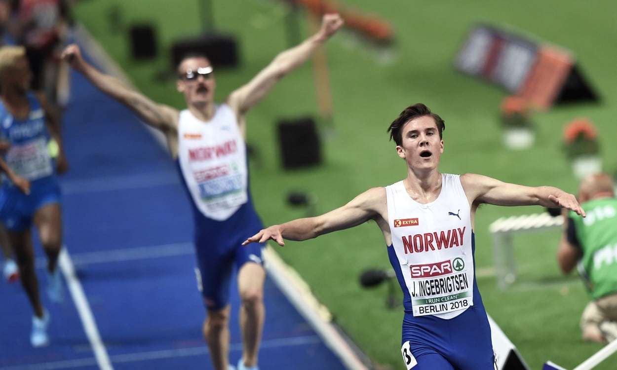 Teen Jakob Ingebrigtsen wins 1500m-5000m double in Berlin