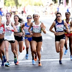 Blood-soaked Belarusian wins dramatic women's marathon
