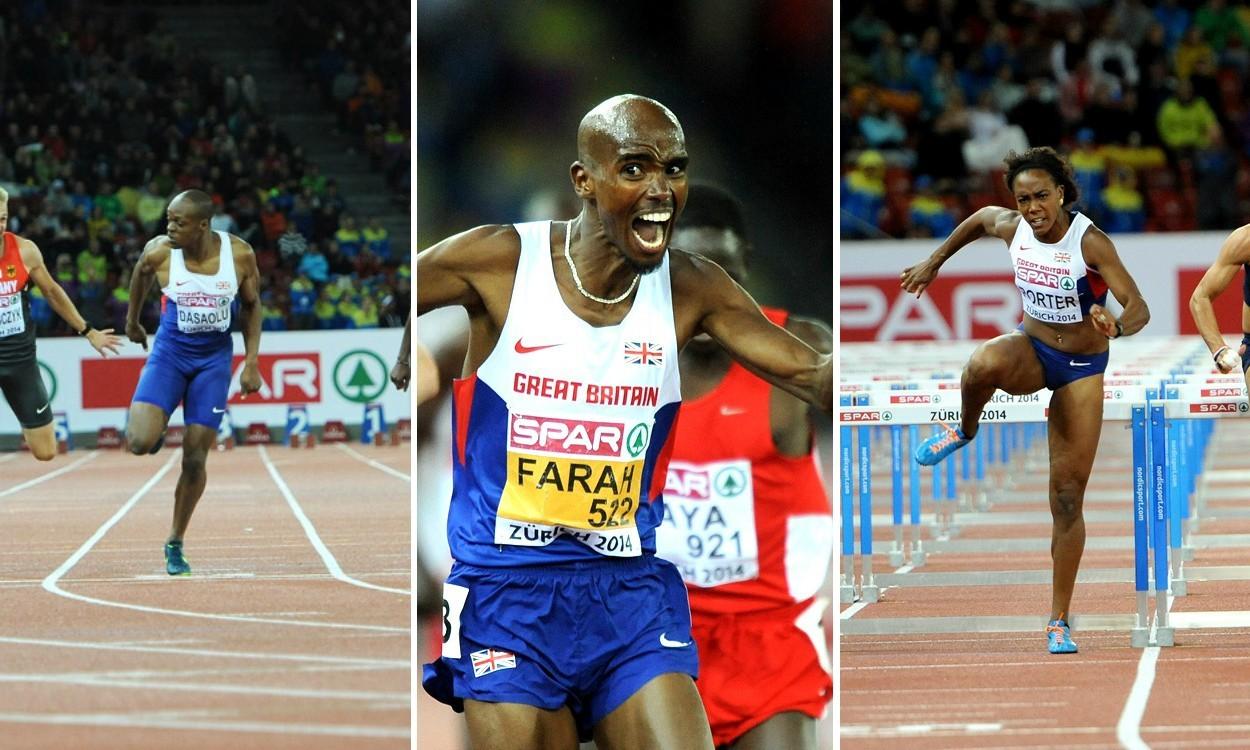 Dasaolu, Farah and Porter claim European titles in Zurich