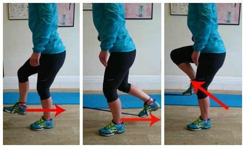 A theraband is an excellent way of functionally strengthening the hamstring in a running motion