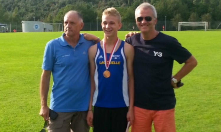 Jamie Williamson with his dad Graham and coach
