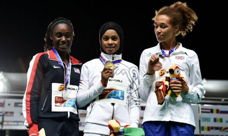 world youth 400m girls' podium 2015
