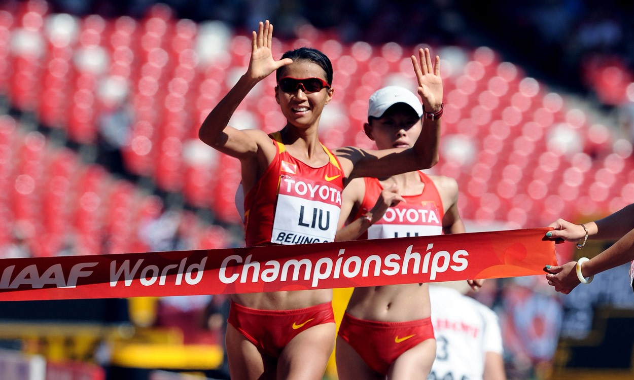 Liu Hong gets China's first gold of Beijing 2015 with race walk win