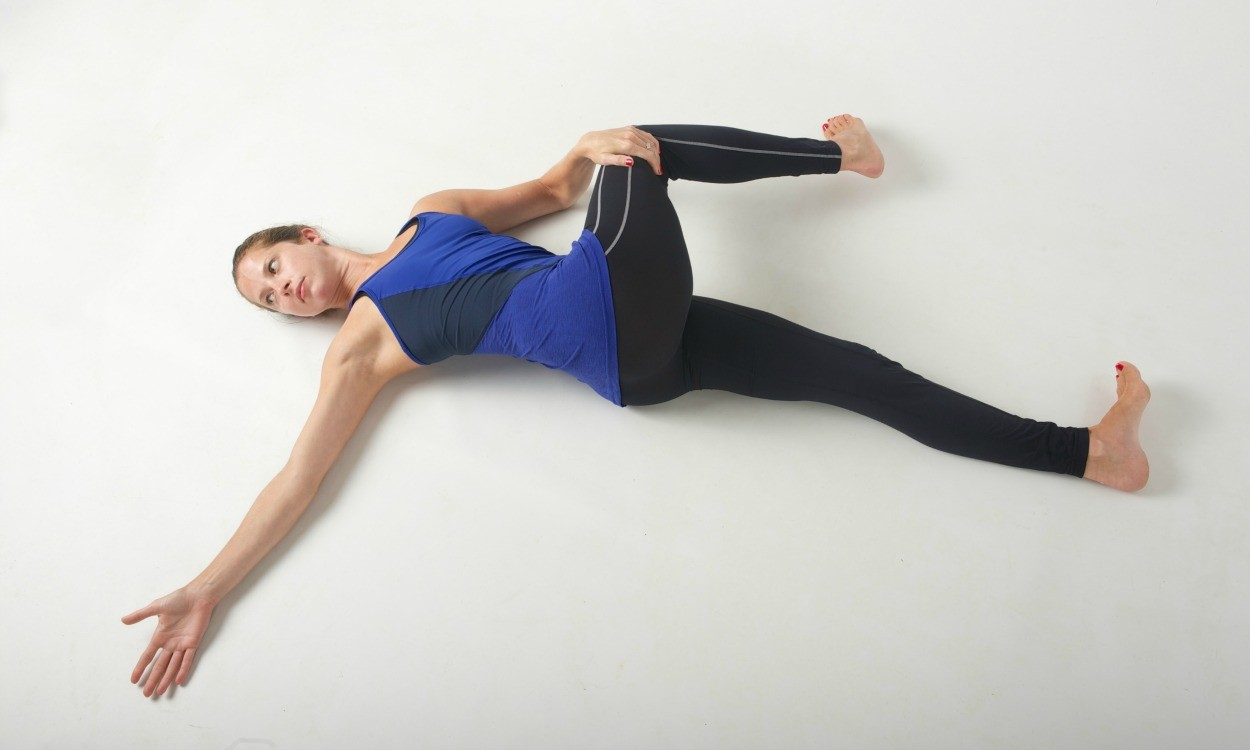 Lying pigeon pose stretch
