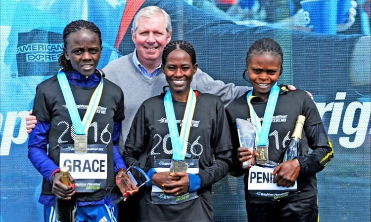 Grace Momanyi, Asnakech Mengistu,Peninah Wanjiru, Brendan Foster Brighton Marathon