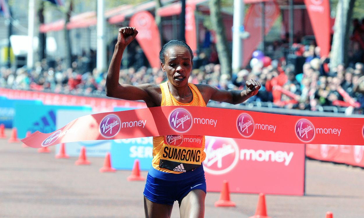 Jemima Sumgong recovers from fall to win Virgin Money London Marathon