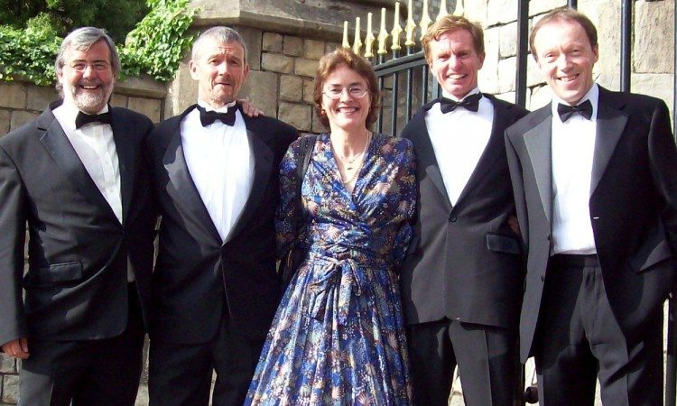 L-R Mike Gratton, Steve Jones, Veronique Marot, Hugh Jones and Charlie Spedding (taken in 2008 just before dinner with Queen at