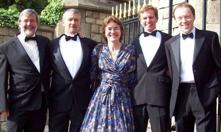 L-R Mike Gratton, Steve Jones, Veronique Marot, Hugh Jones and Charlie Spedding (taken in 2008 just before dinner with Queen at