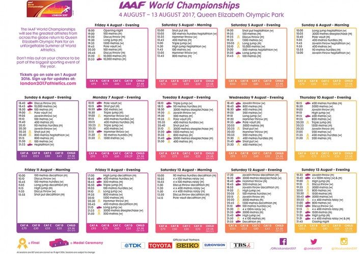 IAAF_World_Championships_Timetable