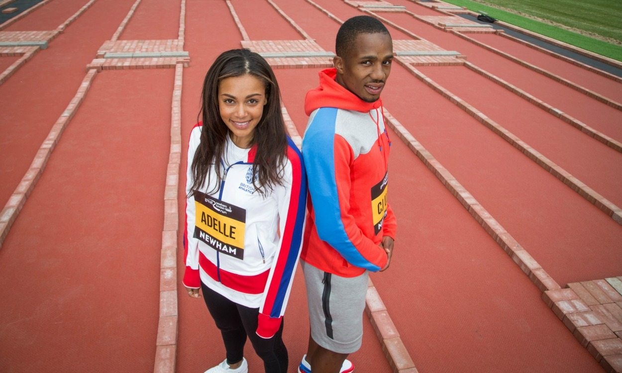 Adelle Tracey and CJ Ujah help lay new Olympic Stadium track