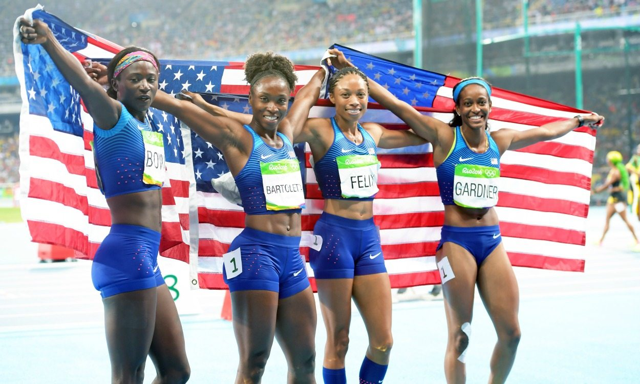USA women win Olympic sprint relay gold as GB blasts to brilliant bronze