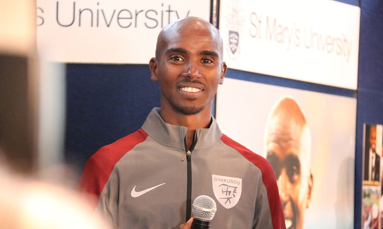 Sir Mo Farah attends renaming of St Mary's University track