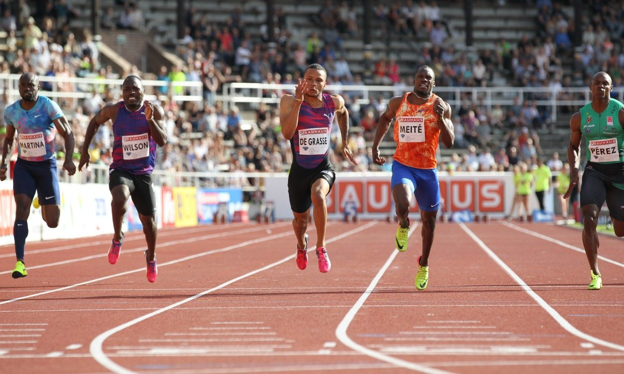 Andre De Grasse speeds to windy 9.69 in Stockholm