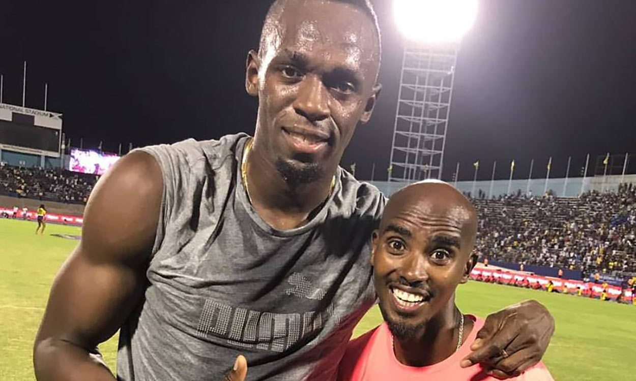 Usain Bolt and Mo Farah at Ostrava Golden Spike