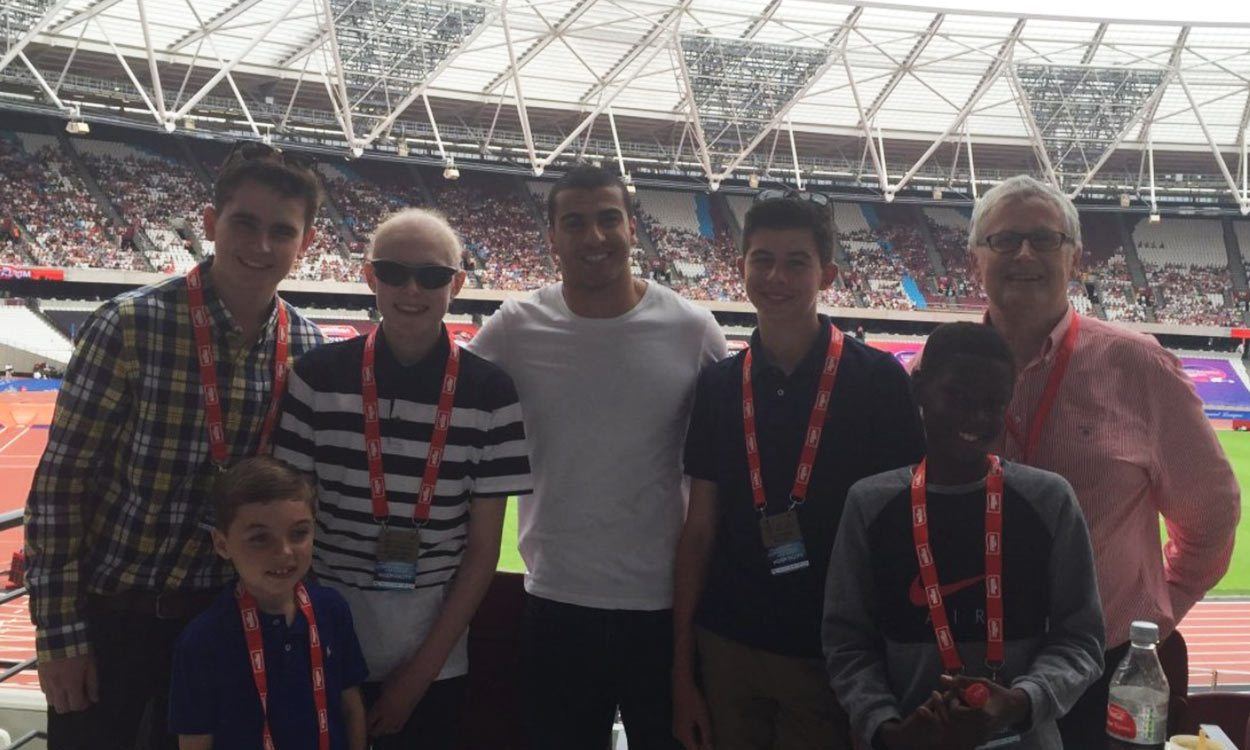 Athletes visit Box4Kids at Anniversary Games