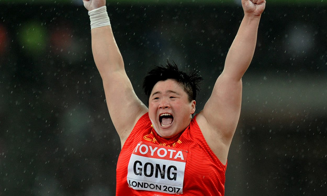 Gold for Gong Lijiao in shot put