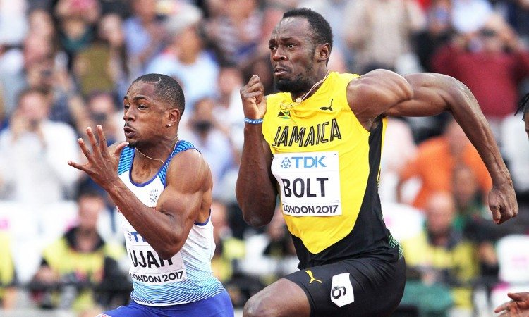 Usain-Bolt-CJ-Ujah-London-2017-100m-heats-by-Mark-Shearman