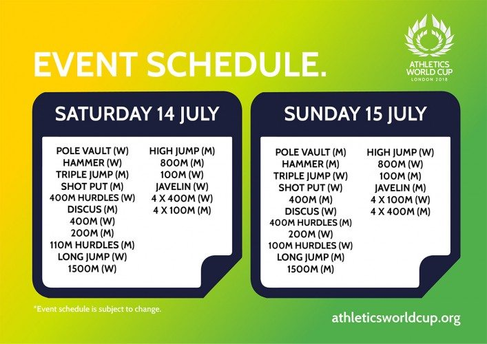 Athletics-World-Cup---Event-Schedule