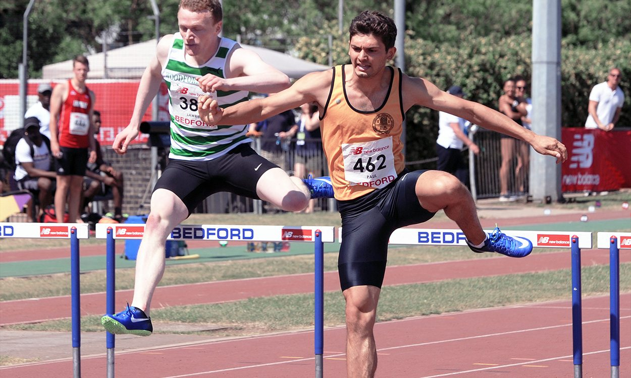 Jacob Paul on hurdles training
