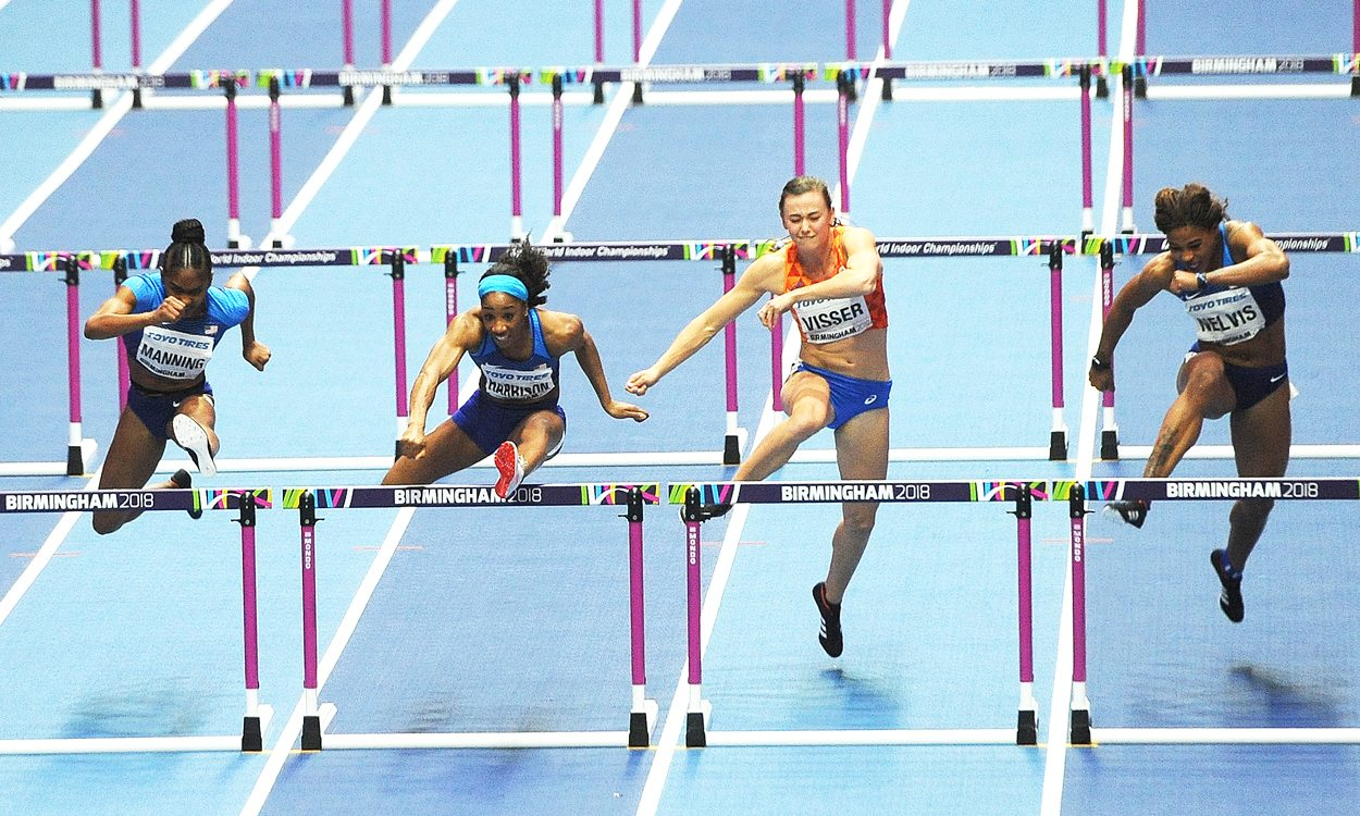 Kendra Harrison wins world indoor hurdles gold in record time