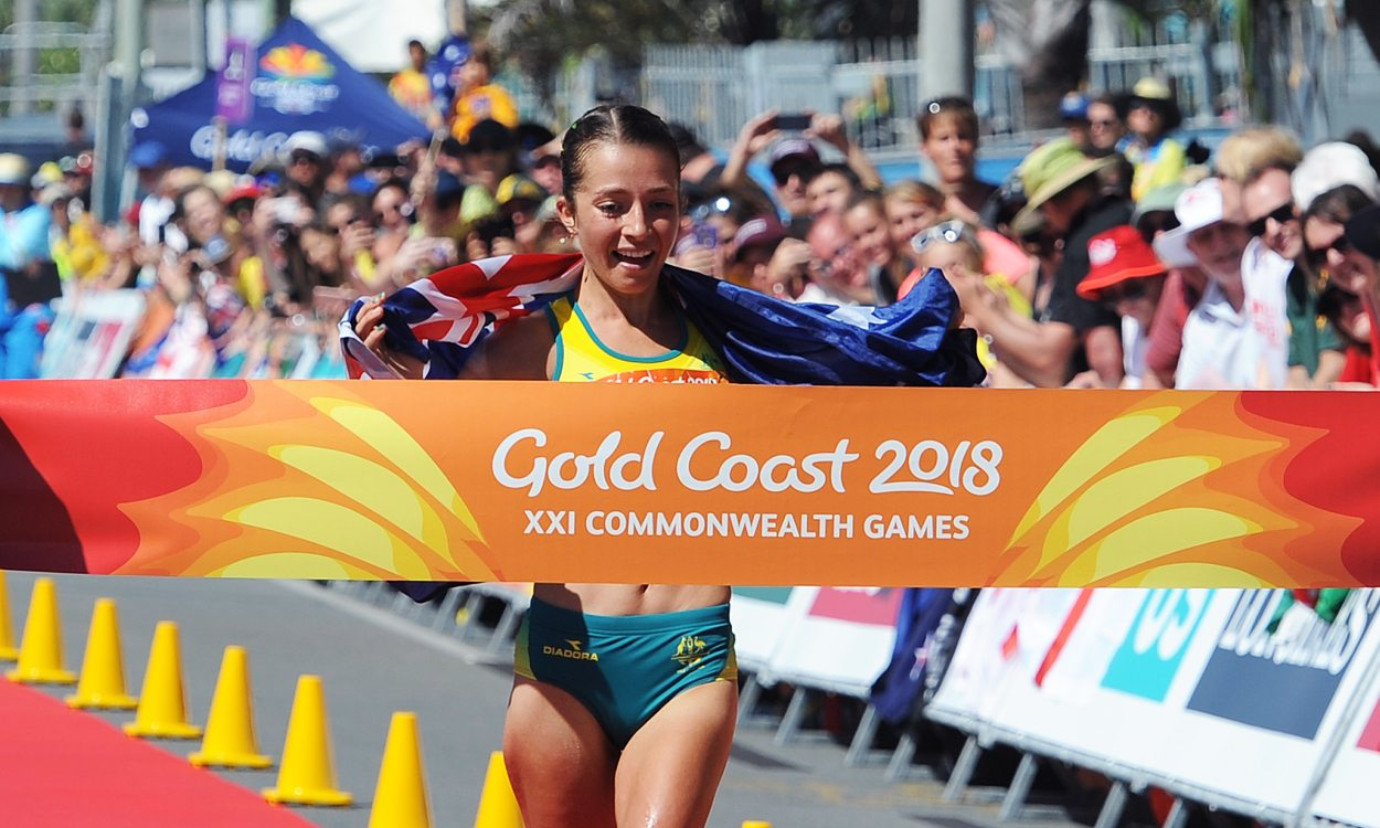 Jemima Montag completes Australian race walk double as Bethan Davies bags bronze