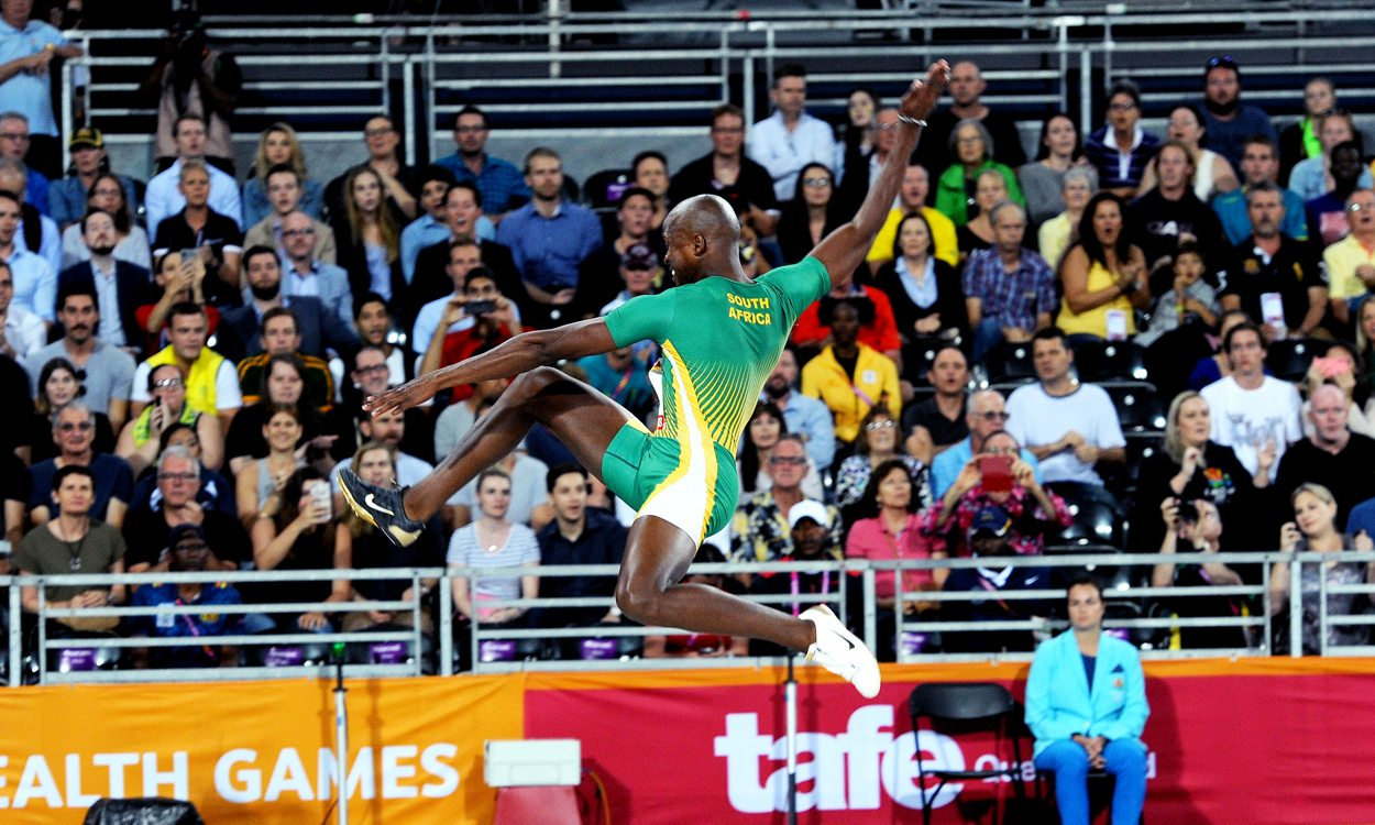 Luvo Manyonga leaps to glory on Gold Coast
