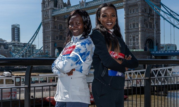 Mary-Keitany-and-Tirunesh-Dibaba-Bob-Martin-for-Virgin-Money-London-Marathon-2018