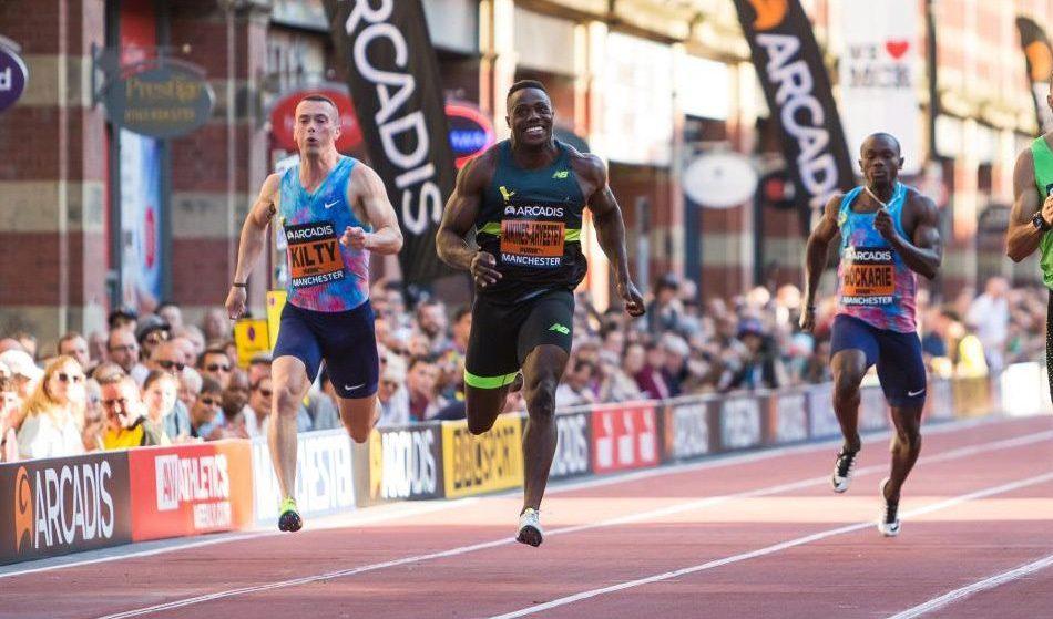 Richard Kilty and Harry Aikines-Aryeetey in CityGames sprints