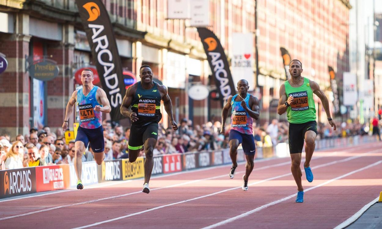 Richard Kilty and Harry Aikines-Aryeetey in CityGames sprints